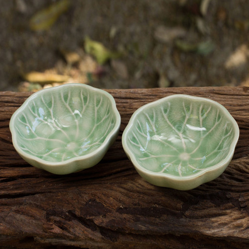 Green Leaf Thai Celadon Canape Dish Pair 'Lotus Leaf'