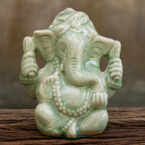 Hand Crafted Celadon Ganesha Statuette from Thailand 'Faithful Ganesha'