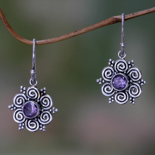 Sumatran Amethyst Floral Earrings 'Sumatran Blossom'