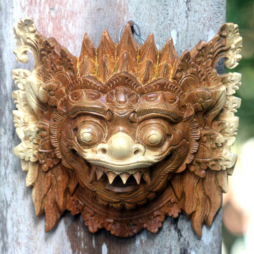 Hindu Protector Hand Carved Mask 'Protective Narashima Lion'