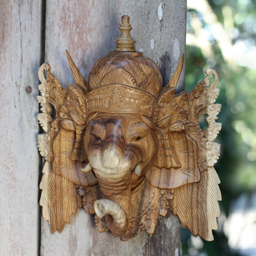 Balinese Ganesha Mask 'Ganesha, Bestower of Happiness'