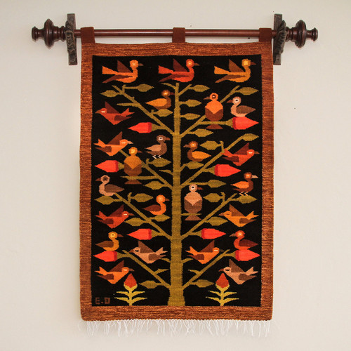 Handmade Orange and Black Andean Wool Tapestry 'Wildlife'