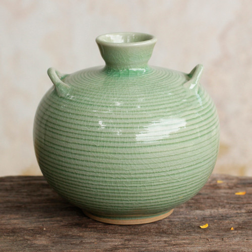 Artisan Crafted Green Thai Celadon Ceramic Bud Vase 'Rice Fields'