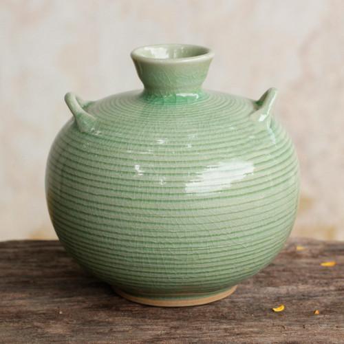 Artisan Crafted Green Thai Celadon Ceramic Bud Vase 'Rice Fields'