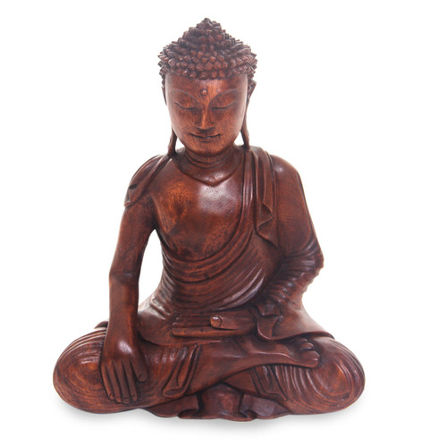 Artisan Hand Carved Wood Buddha Sculpture from Bali 'Moment of Enlightenment'