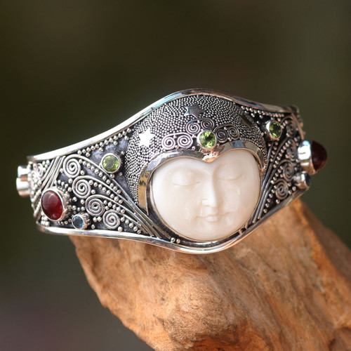 Handmade Cuff Bracelet with Gemstones, Bone, and Silver 'Moon Queen'