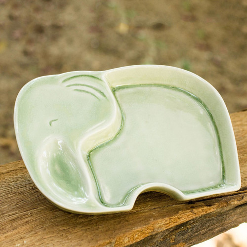 Whimsical Elephant Theme Handmade Celadon Plate 'Happy Green Elephant'