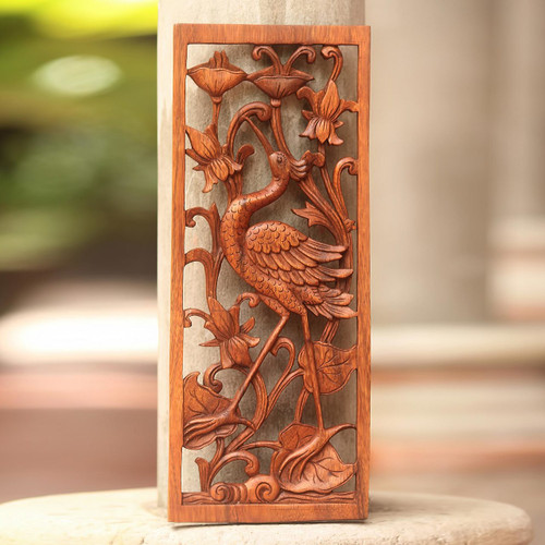 Hand Made Suar Wood Crane Relief Panel from Bali 'Lotus Crane'