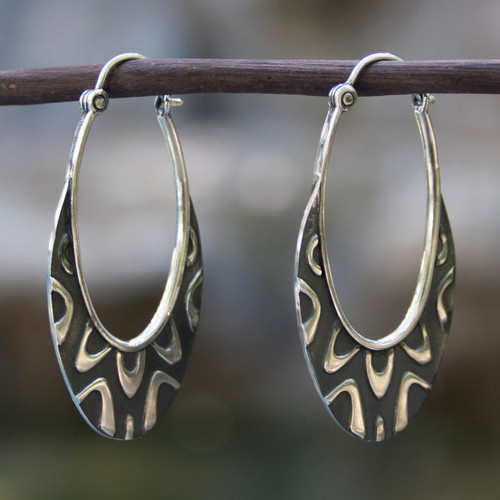 Artisan Crafted Taxco Silver Hoop Earrings from Mexico 'Antique Taxco Lace'