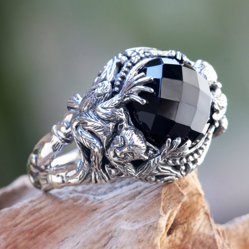Sterling Silver Ring with Monkeys and Onyx from Bali 'Monkey Forest'