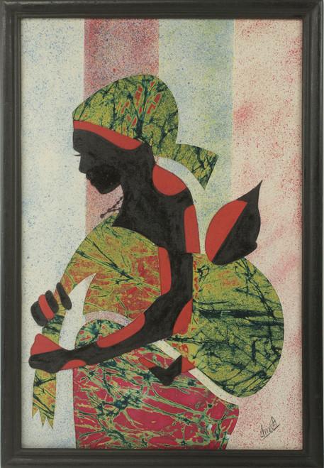 Artisan Crafted Framed African Folk Art Motherhood Painting 'Good Akan Mother'
