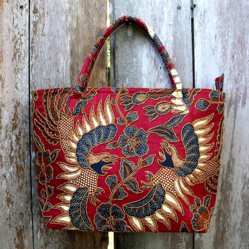 Bird Theme Beaded Batik Cotton Shoulder Bag from Bali 'Sawunggaling Dance'