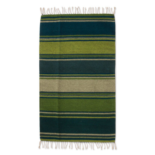 Green and Teal Handwoven Zapotec Wool Rug 'Zapotec Hillsides'