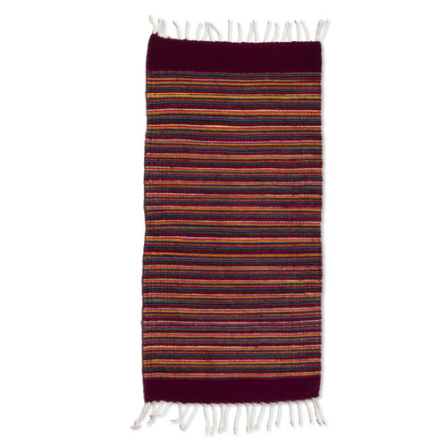 Foot Handwoven Multi-Color Zapotec Wool Rug 'Wine and Sunshine'