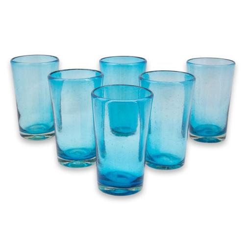Set of 6 Aquamarine Hand Blown 15 oz Highball Glasses 'Aquamarine Bubbles'