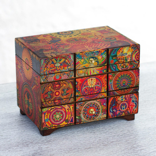 Multicolor Huichol Theme on Decoupage Jewelry Box 'Huichol Portal'