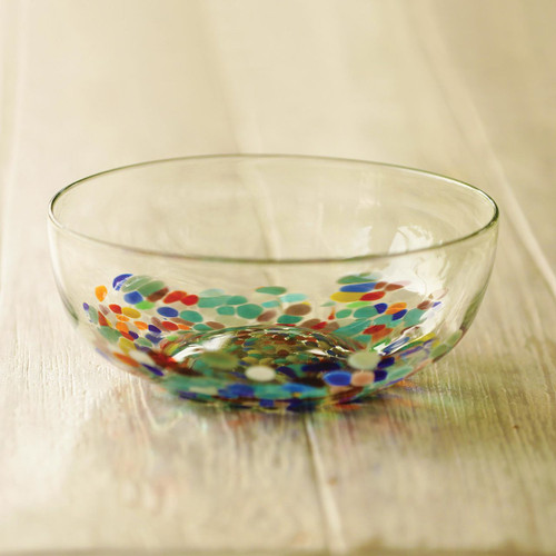 Colorful Hand Blown Glass Bowl for Serving or Salads 'Confetti Festival'