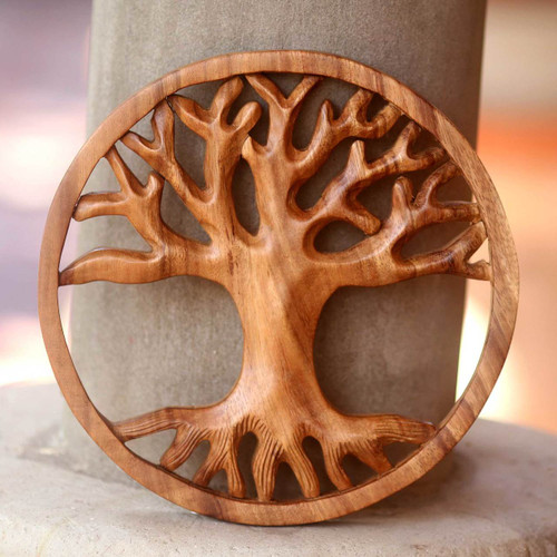 Modern Balinese Relief Panel Tree Theme Wall Sculpture 'Living Tree'