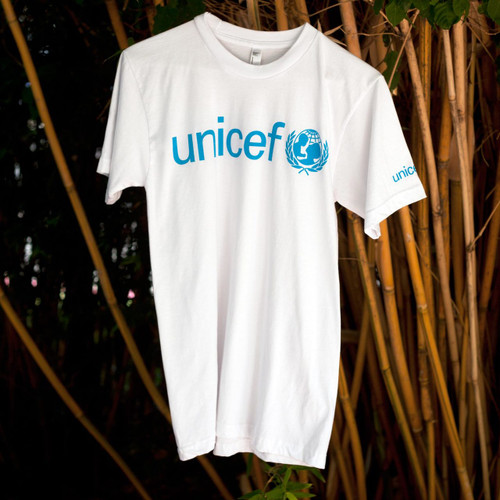 White UNICEF T-Shirt for Adults in Soft Combed Cotton 'UNICEF in White'