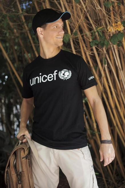 Black UNICEF T-Shirt for Adults in Soft Combed Cotton 'UNICEF in Black'