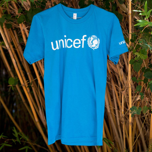 Blue UNICEF T-Shirt for Adults in Soft Combed Cotton 'UNICEF Blue'