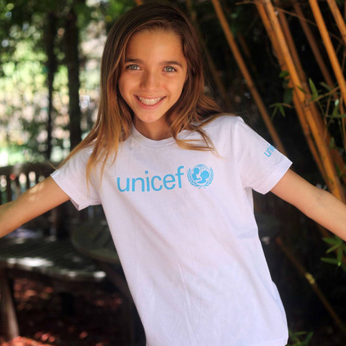 White UNICEF T-Shirt for Children in Soft Combed Cotton 'UNICEF'