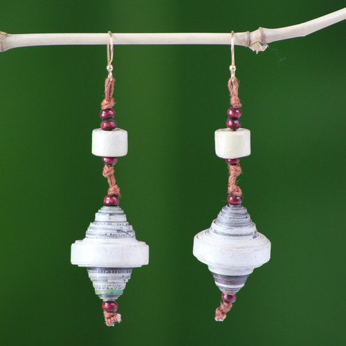 Recycled paper dangle earrings 'Continuity'