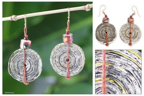 Recycled Paper Dangle Earrings from Africa 'News Hour'