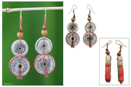 Hand Made Recycled Paper Dangle Earrings 'Music Festival'