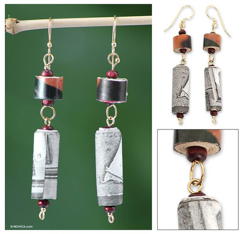 Recycled paper dangle earrings 'My Piano'