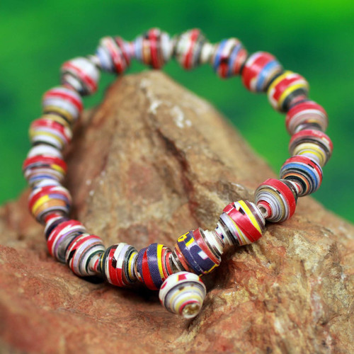 Handmade Bracelet with Multicolor Recycled Paper Beads 'Love Affair'