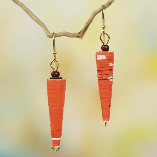 Handmade Orange Paper Recycled Earrings 'Heartfelt Smile'