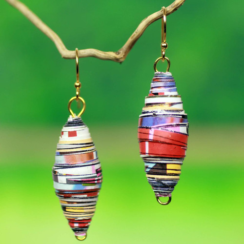 Eco-Design Recycled Paper Earrings from Africa 'Fresh Start'