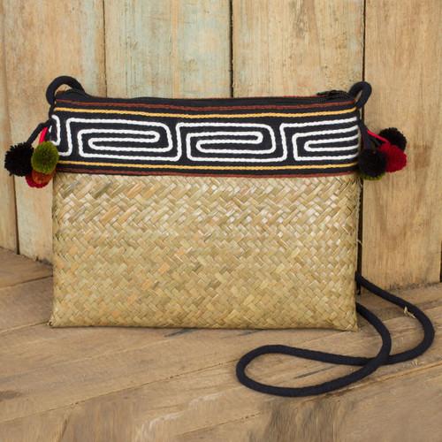 Hand Woven Natural Fiber Shoulder Bag with Thai Pompoms 'Akha Wonder'