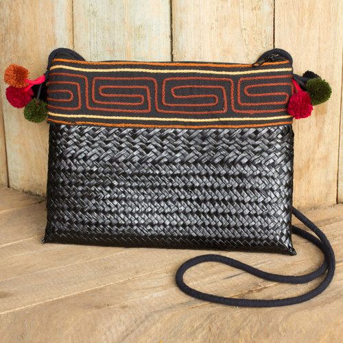Hill Tribe Natural Fiber Shoulder Bag Woven by Hand 'Akha Wonder of Black'