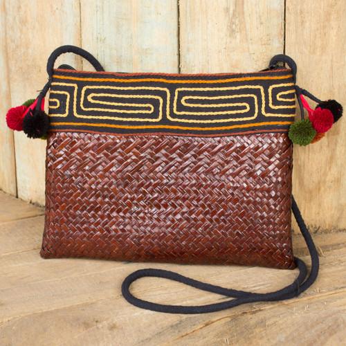 Natural Fiber Hill Tribe Shoulder Bag Woven by Hand 'Akha Wonder of Brown'