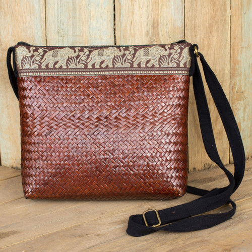 Brown Natural Fiber Shoulder Bag with Cotton Accent 'Siam Elephants on Brown'