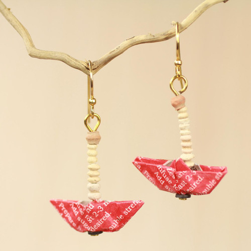 Recycled Paper Red Sailboat Earrings Crafted by Hand 'Red Boats'
