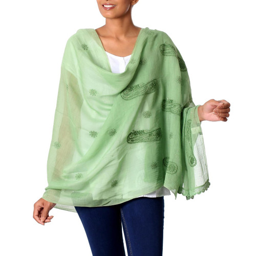 Sheer Lightweight Green Paisley Cotton Blend Shawl 'Green Paisley Dreams'