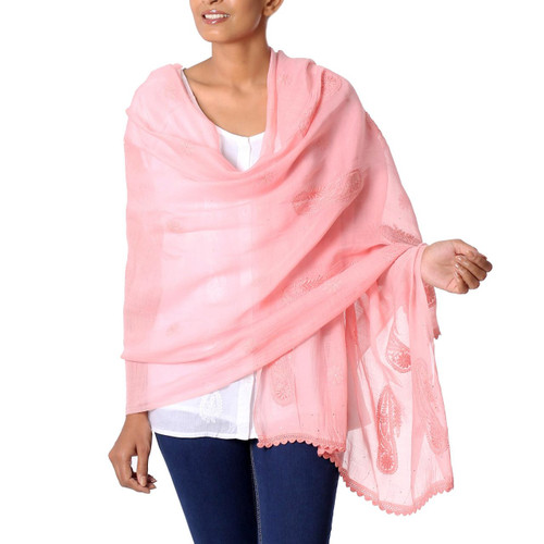 Peach Colored Cotton and Silk Blend Shawl with Paisley Motif 'Peach Paisley Dreams'