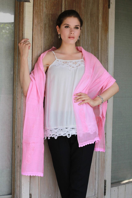 Hand Embroidered Pink Paisley Shawl from Indian Artisan 'Pink Paisley Dreams'