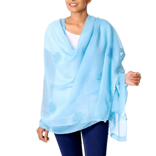 Hand Embroidered Sky Blue Cotton Blend Shawl from India 'Lucknow Bouquet in Blue'