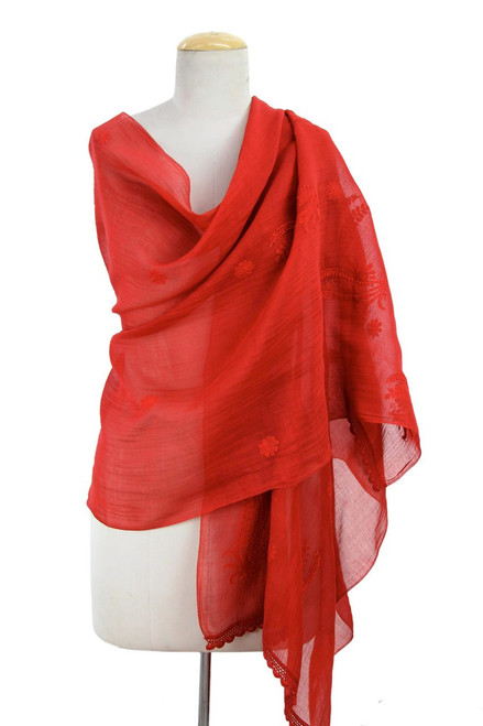 Sheer Red Hand Embroidered Cotton and Silk Shawl 'Crimson Ferns'