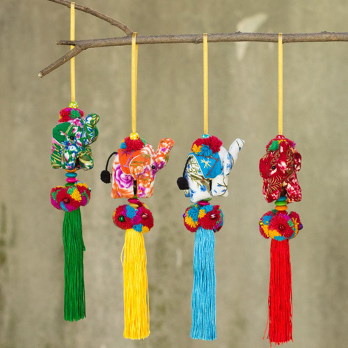 Set of 4 Multicolor Thai Elephant Ornaments Crafted by Hand 'Happy Lanna Elephants'