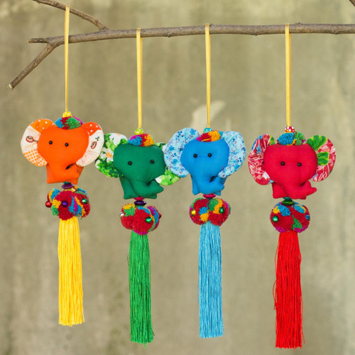 4 Artisan Crafted Multicolor Thai Cotton Elephant Ornaments 'Happy Thai Elephants'