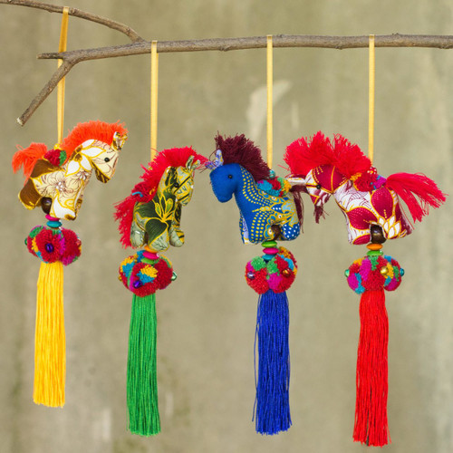 Artisan Crafted Multicolor Thai Cotton Horse Ornaments (4) 'Happy Thai Horses'