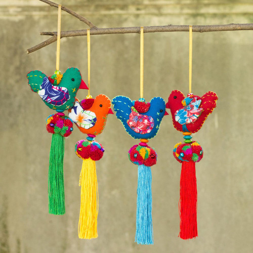 4 Birds and Brass Bells Artisan Crafted Multicolor Ornaments 'Happy Thai Doves'