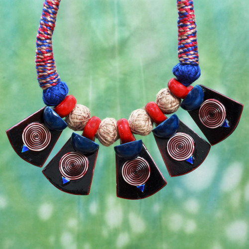 Cotton and Ceramic Artisan Crafted Necklace from India 'Elements of Nature'