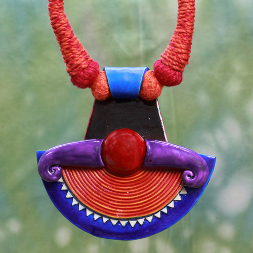Hand Made Ceramic Cotton Necklace Red Orange from India 'Sun Energy'
