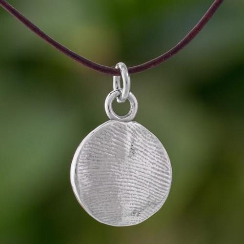 Circular Fine Silver Pendant Necklace from Guatemala 'Fingerprints'